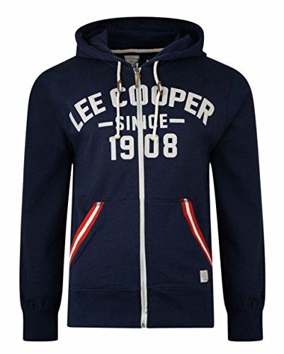 Lee Cooper -  Felpa con cappuccio  - Maniche lunghe  - Uomo Frant (Midnight) Small
