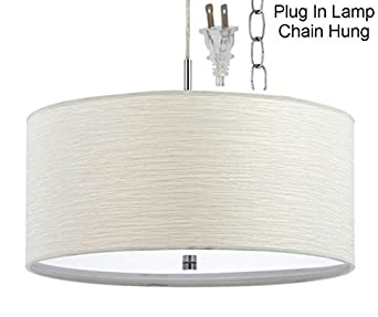 Plug In White Nickel Modern Drum Pendant Light Swag Lamp