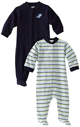 Gerber Baby-Boys Newborn 2 Pack Snap Front Dog Sleep and Play , Blue, 3-6 Months