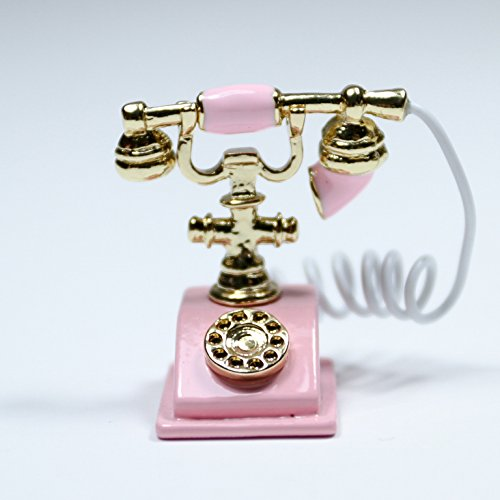Pink Old-Fashioned Rotary Phone Telephone W/Receiver Miniature Dollhouse Toy
