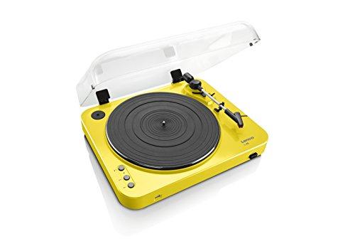 Lenco L-85 Plattenspieler mit USB Direct Encoding/Vorverstärker (USB-Eingang, MMC, Track Splitting, Riemenantrieb, halbautomatisch, abnehmbare Staubschutzhaube) gelb