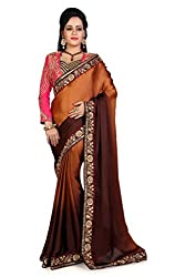 Bikaw Women's Satin Saree (RS_Amazing Grace_PK-47_Brown _Free Size)