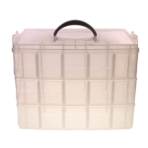 3 Tier Adjustable 30 Compartment Slot Plastic Craft Storage Box By Kurtzytm front-782253