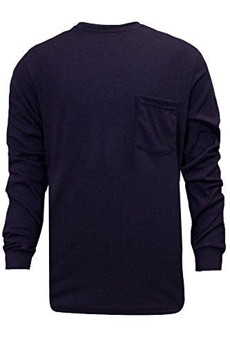 National Safety Apparel C54PILSMD FR Classic Cotton Long Sleeve T-Shirt, 100% FR Cotton, Medium, Navy