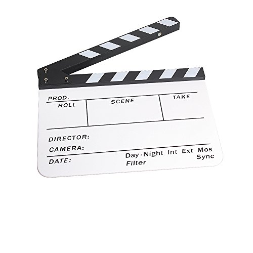 """Andoer Acrylic Clapboard Dry Erase Director Film Movie Clapper Board Slate 9.6 * 11.7"""" With White/Black Sticks"""