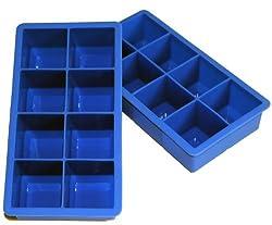 Scotch Rocks - 8 Cavity Jumbo Silicone Ice Cube Tray, Set of 2