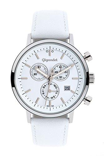 Gigandet CLASSICO Orologio da uomo - Cronografo al quarzo analogico - Impermeabile 50m/5bar - Quadrante bianco - Indicazione della data - Cinturino in cuoio bianco - G6-008