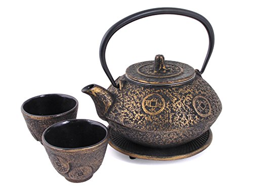 Japan Bargain Ancient Coin Cast Iron Tea Set Gold #ts11 06go
