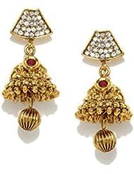 Zaveri Pearls Jhumka Earrings Traditional In Antique Gold Look Cubic Zirconia - ZPFK5032
