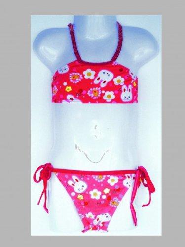 Kinder, Mädchen Bikini, Kinderbikini, pink, Motiv 'Häschen', zum Binden, Größe:104-116