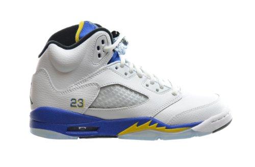 Air Jordan 5 Retro (GS) Big Kids Basketball Shoes White/Varsity Royal-Black 440888-189 (6.5 M US) (Retro Jordan Grape 5 compare prices)