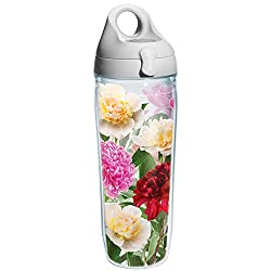Tervis Peonies from Heaven Wrap Water Bottle with Grey Lid, 24-Ounce, Garden Party