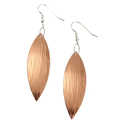 Copper Bark Leaf Drop Earrings - Handmade Copper Earrings - Jewelry Gifts for 7th Wedding Anniversary