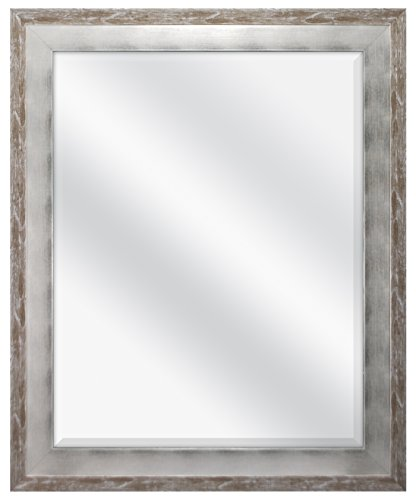 MCS 22 by 28-Inch Beveled Mirror, 28 by 34-Inch, Concrete and Silver Leaf Finish