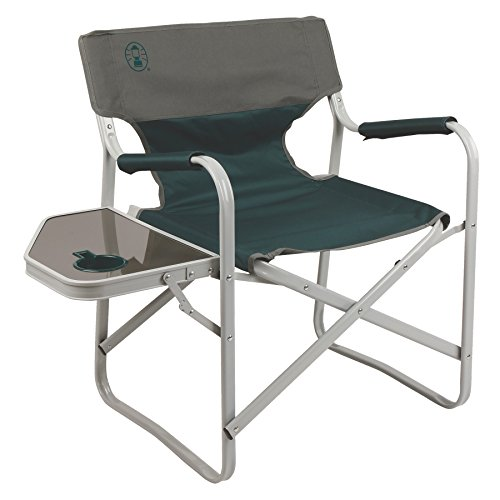 Coleman Outpost Elite Deck Chair with Side Table, Les Green (Coleman Picnic Table compare prices)