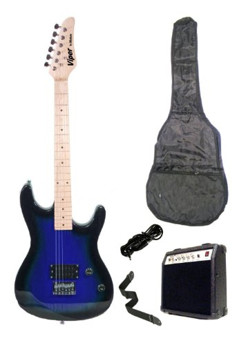 39 Inch Blue Electric Guitar And Amp Pack & Carrying Case & Accessories, (Guitar, 10 Watt Amplifier, Whammy Bar, Strap, Cable, Strings, & Directlycheap(Tm) Translucent Blue Medium Guitar Pick)