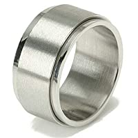 Wide Flat Top Stainless Steel Wedding Band Ring 11mm