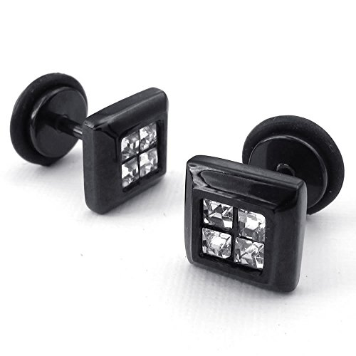 Konov Jewelry Mens Cubic Zirconia Stainless Steel Square Stud Earrings, Black