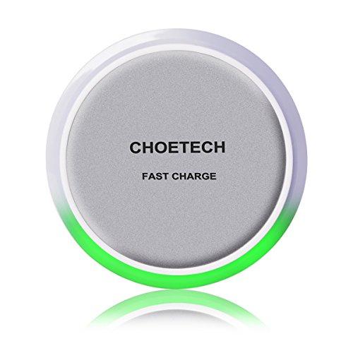 [10w Fast Charger Chargeur Rapide sans Fil] CHOETECH QI Chargeur Sans Fil (avec Capteur d'Eclairage Intelligent) pourSamsung GALAXY Note5, S6 Edge Plus, S7, S7 Edge et d'Autres Appareils Compatibles Qi (Câble Micro USB Inclus)