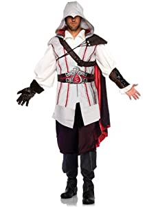 Leg Avenue Men's Assassin's Creed 8 Piece Ezio Costume Cosplay, Grey, Medium/Large