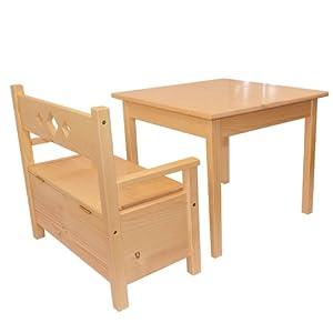 Muebles Para Niños de Pino Sólido Natural Barnizado Conjunto de Dos, Una Mesa y Un Banco Caja de Almacenamiento en BebeHogar.com