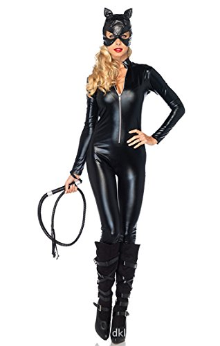 Easy Halloween Black leather leather tights Catwoman Cosplay Mask + clothes