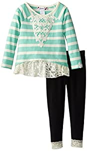 Speechless Little Girls' Lace Trim Crochet Detail Set, Ivory, 4