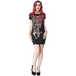 T Shirt Dress Bones & Roses Jawbreaker (Nero) - Large