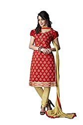 The Fashion World Hand Printed and Embriodery Worked Dress Material Crafted On Chanderi Fabric- Red & Beige