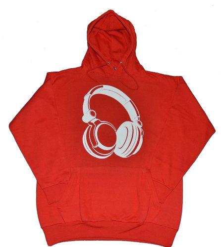Got-Tee Headphones Dj Music Party Hoodie / Sweatshirt (S, Red)