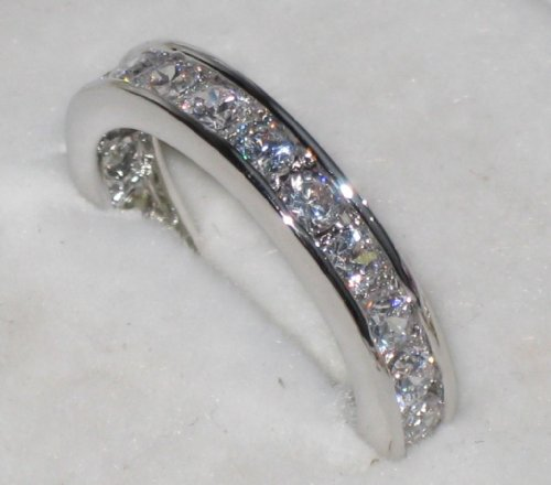Womens Two Tone Half Eternity Swarovski Crystal ring. Outstanding quality eternity band. 24k gold electroplated. Will not tarnish.
