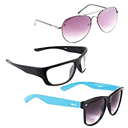 Elligator Stylish Aviator Spartiate Purple And White Nightvision With Blue Wayfarer Sunglasses Combo ( Set of 3 )