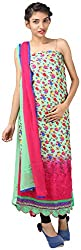 Hardy's Style Women's Cotton Silk Chikankari Dress Material (HS-47, Green & Red)