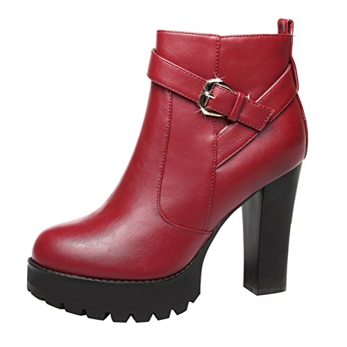 [Cyber Monday Passionow Women's Warm Short Plush Buckle Side Zipper Chunky Heel Winter Ankle Booties (5] (Slender Man Costume Review)