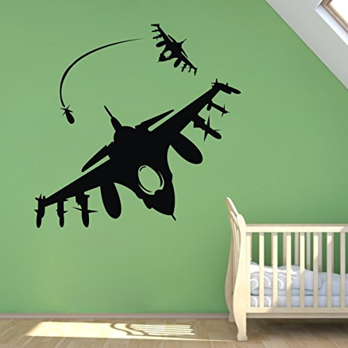 """Colorfulhall 29.92"""" X 29.92"""" Black Color Airplane Helicopter Vinyl Home Wall Decal front-1045881"""
