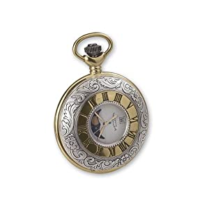 Jd Manoir Two-tone White Dial Moon Phase Quartz Pocket Watch, Best Quality Free Gift Box Satisfaction Guaranteed