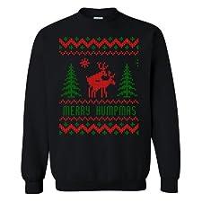 Ugly Christmas Sweater Merry Humpmas Reindeer Crew Neck