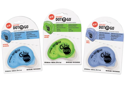 Glue Dots Office/Home Variety Pack Contains Permanent, Removable and Poster Dot 'n Go Applicators (85111)
