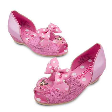 Disney Store Deluxe Minnie Mouse Costume Shoes (Size 9/10): Pink Glitter and Bow