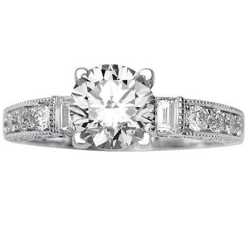Baguette And Round Diamonds Engagement Ring with a 0 7 Carat H SI2 EGLUSA Cer