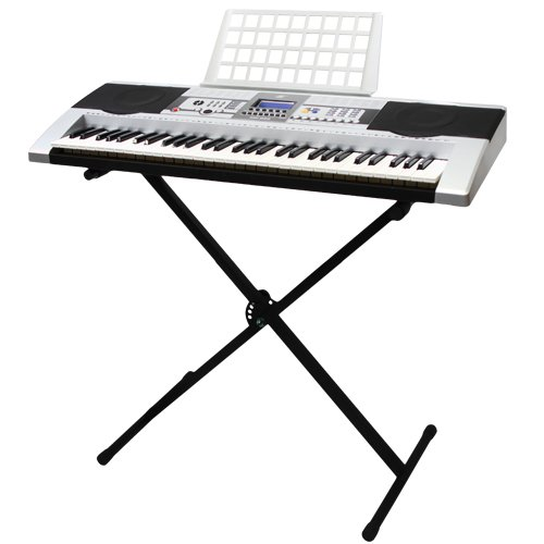 Xtremepowerus 61 Key Electronic Music Keyboard Electronic Piano W/ Stand Lcd Display Screen