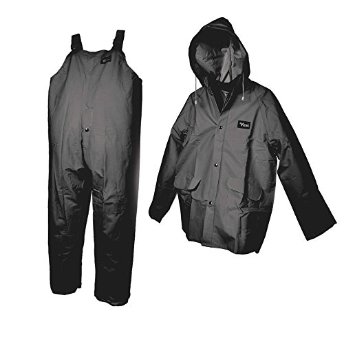 3 Piece Rainsuit w/Detach Hood, Black, 3XL