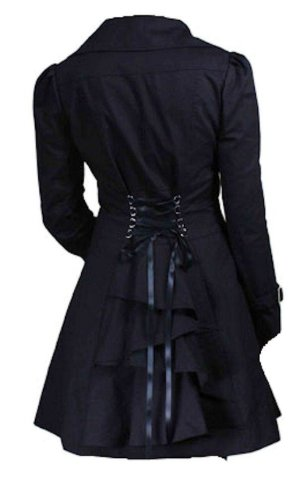 Black - Classic Cotton Victorian Gothic Steam Punk Vampire Corset Riding Jacket Coat Size 22