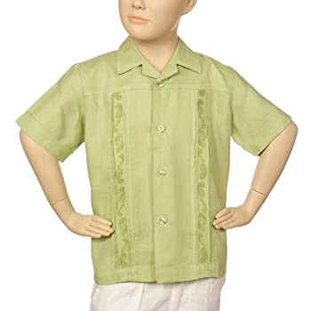 Boys irish linen shirt in light sage short sleeve.