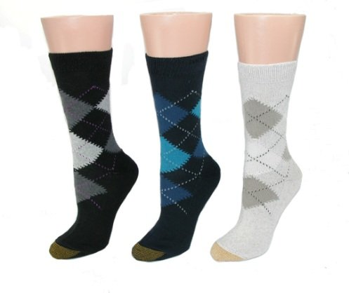 Gold Toe Women's Cotton Argyle Socks (Black)