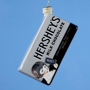 VINTAGE HERSHEY CANDY BAR – 4″ GLASS VINTAGE HERSHEY CANDY BAR. – Christmas Ornament