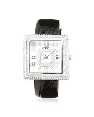 Adee Kaye Women's AK25-L Donna Crystal & Black Leather Watch