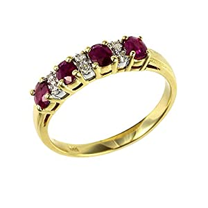 Ivy Gems 9ct Yellow Gold Ruby and Diamond Half Eternity Ring Size Q
