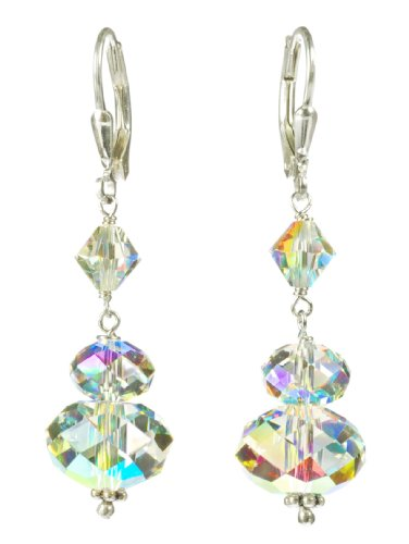 Sterling Silver Swarovski Elements Crystal Aurora Borealis Large Rondelle Drop Earrings