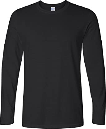Gildan Mens Soft Style Long Sleeve T-Shirt (S) (Black)
